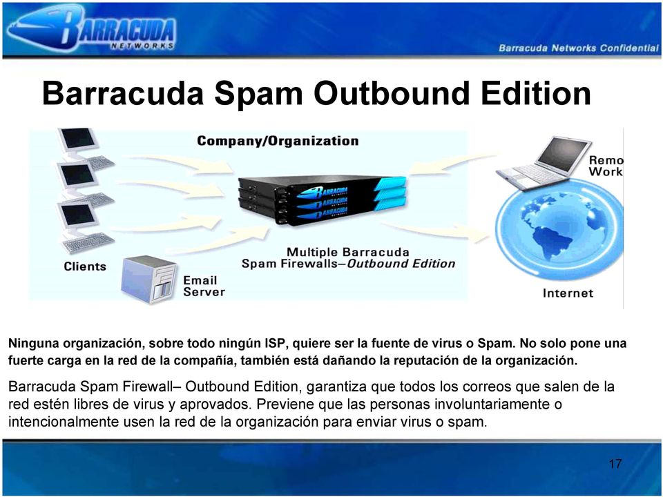 Barracuda Spam Firewall Outbound Edition, garantiza que todos los correos que salen de la red estén libres de virus y