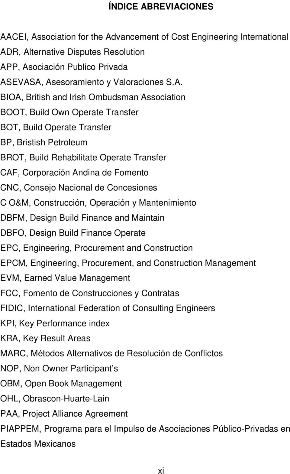 BIOA, British and Irish Ombudsman Association BOOT, Build Own Operate Transfer BOT, Build Operate Transfer BP, Bristish Petroleum BROT, Build Rehabilitate Operate Transfer CAF, Corporación Andina de