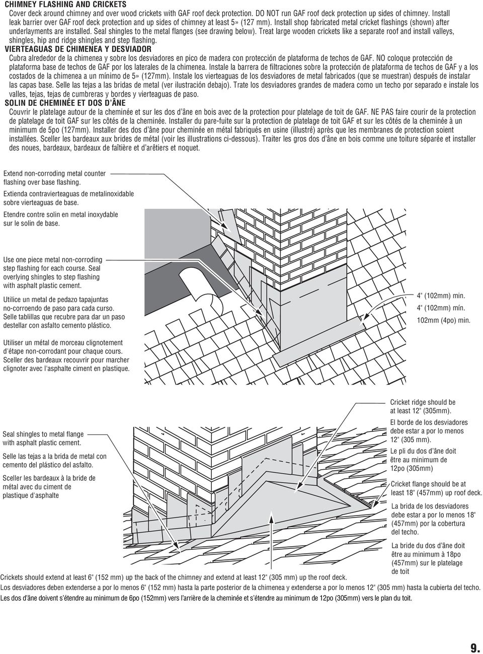 Seal shingles to the metal flanges (see drawing below). Treat large wooden crickets like a separate roof and install valleys, shingles, hip and ridge shingles and step flashing.