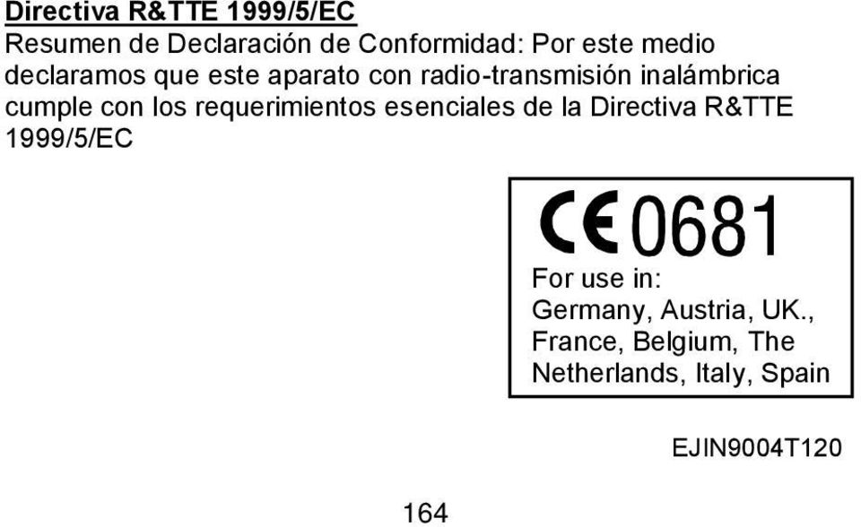 los requerimientos esenciales de la Directiva R&TTE 1999/5/EC For use in: