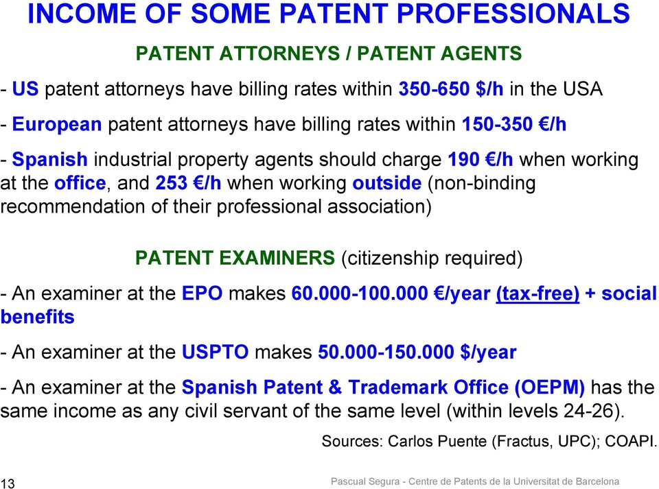 association) PATENT EXAMINERS (citizenship required) - An examiner at the EPO makes 60.000-100.000 /year (tax-free) + social benefits - An examiner at the USPTO makes 50.000-150.