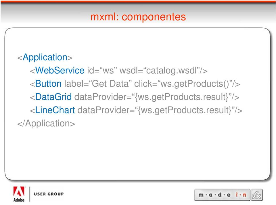 getproducts() /> <DataGrid dataprovider= {ws.getproducts.result} /> <LineChart dataprovider= {ws.
