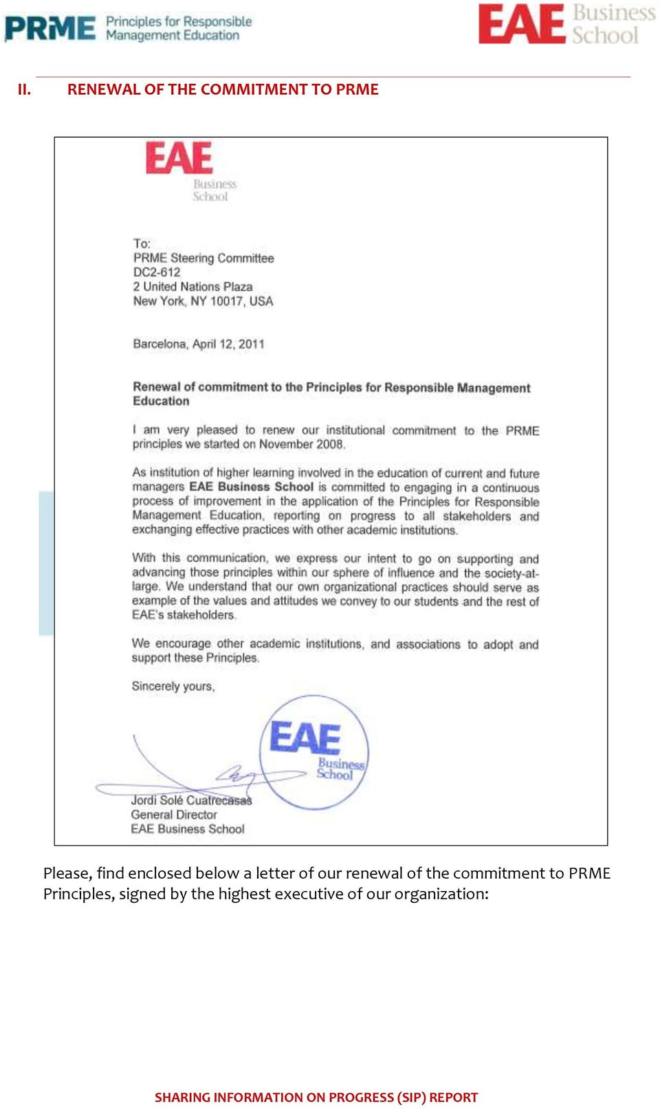 renewal of the commitment to PRME
