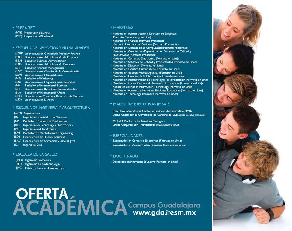 Financiera Bachelor Financial Management Licenciatura en Ciencias de la Comunicación Licenciatura en Mercadotecnia Bachelor of Marketing Licenciatura en Negocios Internacionales Bachelor of