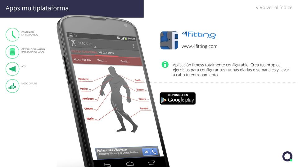 com ADS Aplicación fitness totalmente configurable.