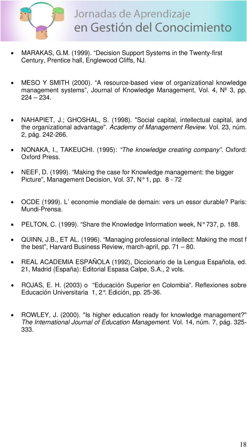 """Social capital, intellectual capital, and the organizational advantage"". Academy of Management Review. Vol. 23, núm. 2, pág. 242-266. NONAKA, I., TAKEUCHI. (1995): The knowledge creating company."