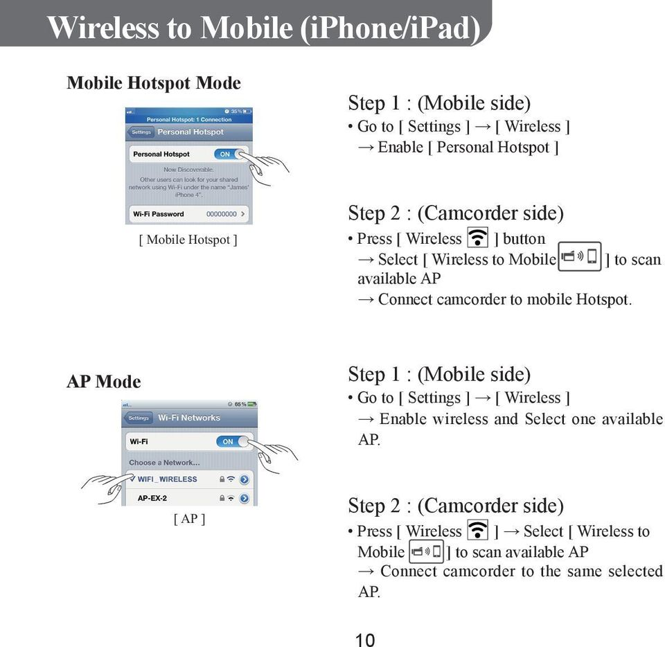 to mobile Hotspot. AP Mode Step 1 : (Mobile side) Go to [ Settings ] [ Wireless ] Enable wireless and Select one available AP.