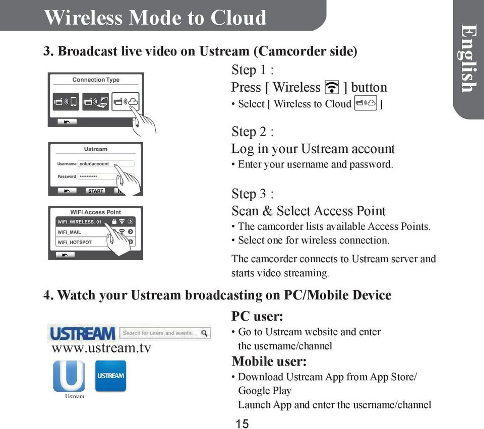 Enter your username and password. Step 3 : Scan & Select Access Point The camcorder lists available Access Points. Select one for wireless connection.