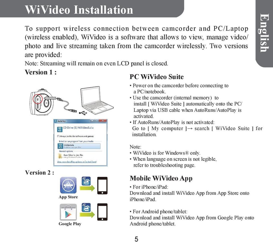 Use the camcorder (internal memory) to install [ WiVideo Suite ] automatically onto the PC/ Laptop via USB cable when AutoRuns/AutoPlay is activated.