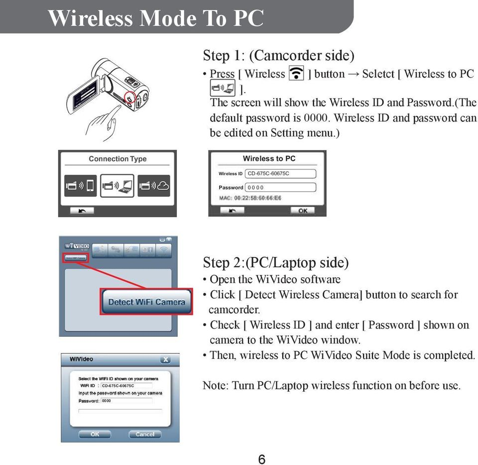 ) Wireless WiFi to to PC PC Wireless WiFi ID CD-675C-60675C Password 0000 Step 2:(PC/Laptop side) Open the WiVideo software Click [ Detect Wireless Camera]