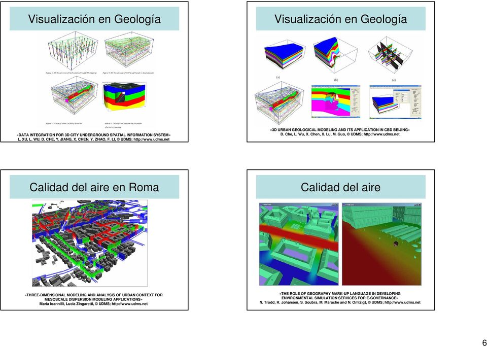 net «3D URBAN GEOLOGICAL MODELING AND ITS APPLICATION IN CBD BEIJING» D. Che, L. Wu, X. Chen, X. Lu, M. Guo, UDMS; http://www.udms.