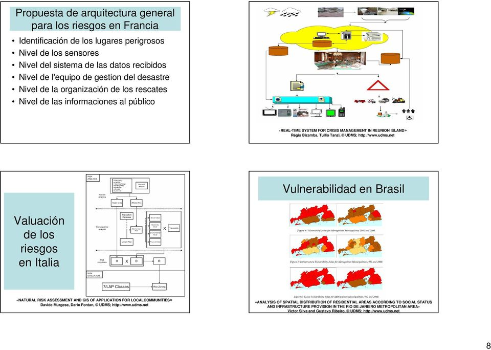 net Vulnerabilidad en Brasil Valuación de los riesgos en Italia «NATURAL RISK ASSESSMENT AND GIS OF APPLICATION FOR LOCALCOMMUNITIES» Davide Murgese, Dario Fontan, UDMS; http://www.udms.