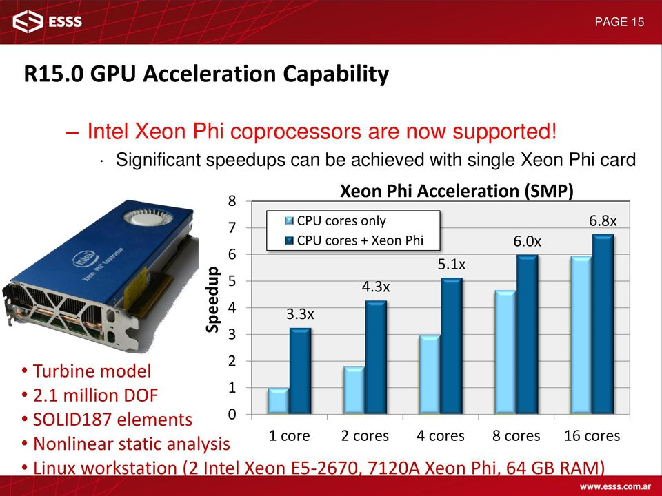 3x Xeon Phi Acceleration (SMP) CPU cores only CPU cores + Xeon Phi Turbine model 1 2.