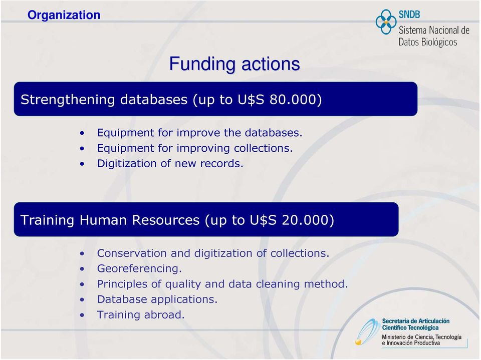 Digitization of new records. Training Human Resources (up to U$S 20.