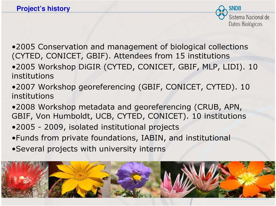 10 institutions 2007 Workshop georeferencing (GBIF, CONICET, CYTED).