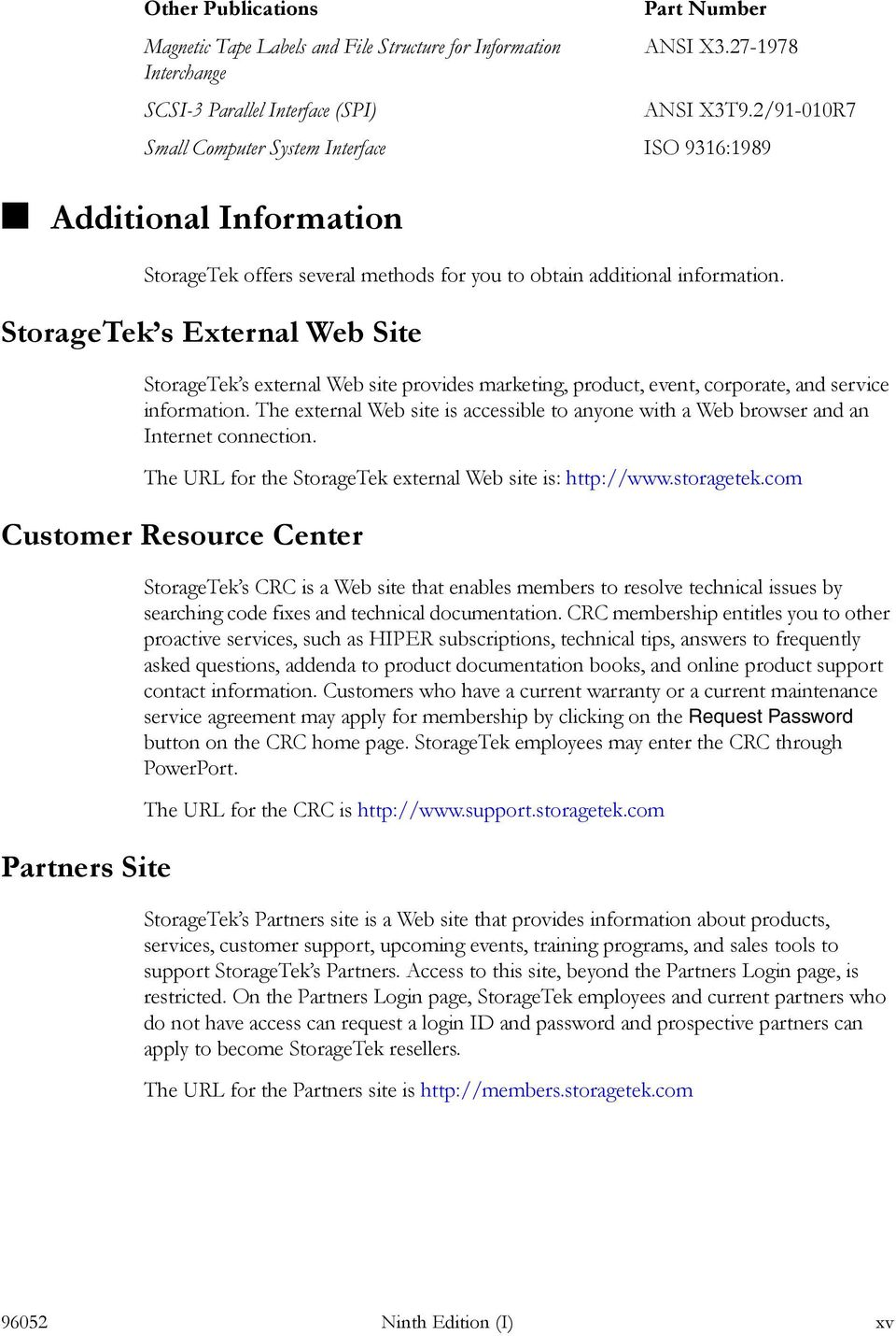 The external Web site is accessible to anyone with a Web browser and an Internet connection. The URL for the StorageTek external Web site is: http://www.storagetek.