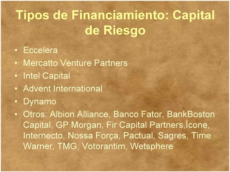 Banco Fator, BankBoston Capital, GP Morgan, Fir Capital Partners,Ícone,