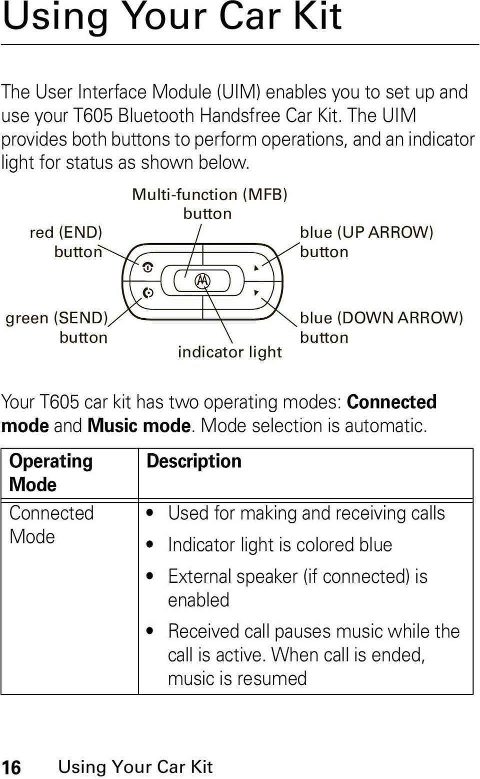 red (END) button Multi-function (MFB) button blue (UP ARROW) button green (SEND) button indicator light blue (DOWN ARROW) button Your T605 car kit has two operating modes:
