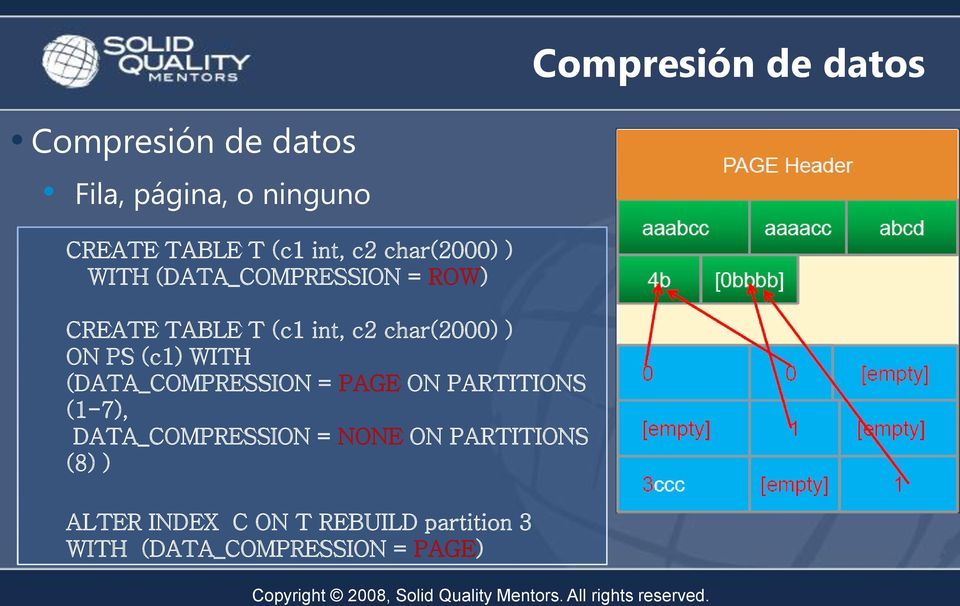 ON PS (c) WITH (DATA_COMPRESSION = PAGE ON PARTITIONS (-7), DATA_COMPRESSION = NONE ON