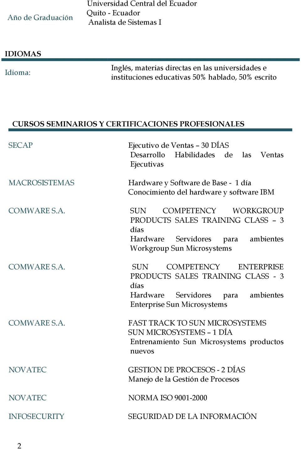 Conocimiento del hardware y software IBM COMWARE S.A. SUN COMPETENCY WORKGROUP PRODUCTS SALES TRAINING CLASS 3 días Hardware Servidores para ambientes Workgroup Sun Microsystems COMWARE S.A. SUN COMPETENCY ENTERPRISE PRODUCTS SALES TRAINING CLASS - 3 días Hardware Servidores para ambientes Enterprise Sun Microsystems COMWARE S.