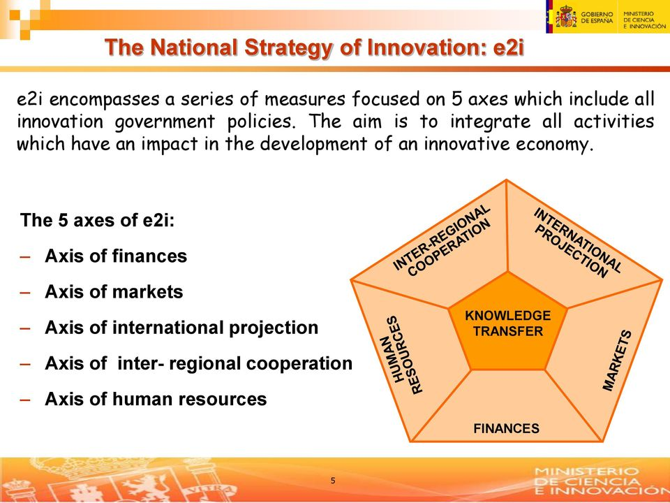 The aim is to integrate all activities which have an impact in the development of an innovative economy.