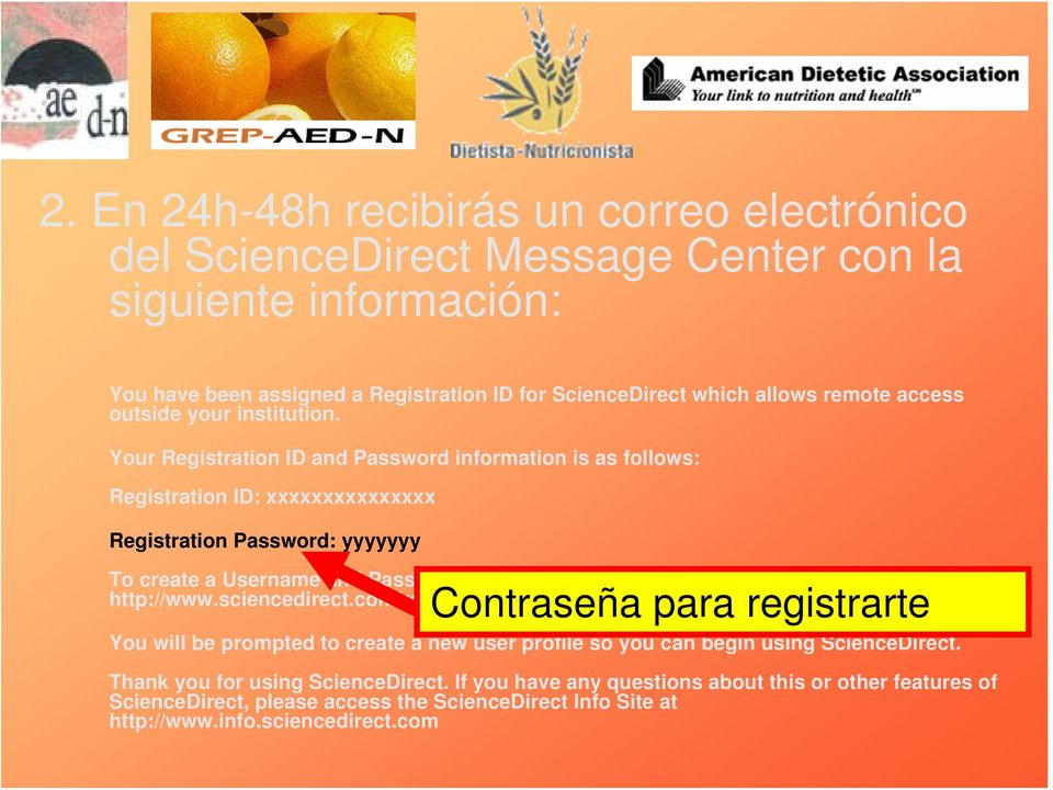 Your Registration ID and Password information is as follows: Registration ID: xxxxxxxxxxxxxxx Registration Password: yyyyyyy To create a Username and Password for ScienceDirect please enter