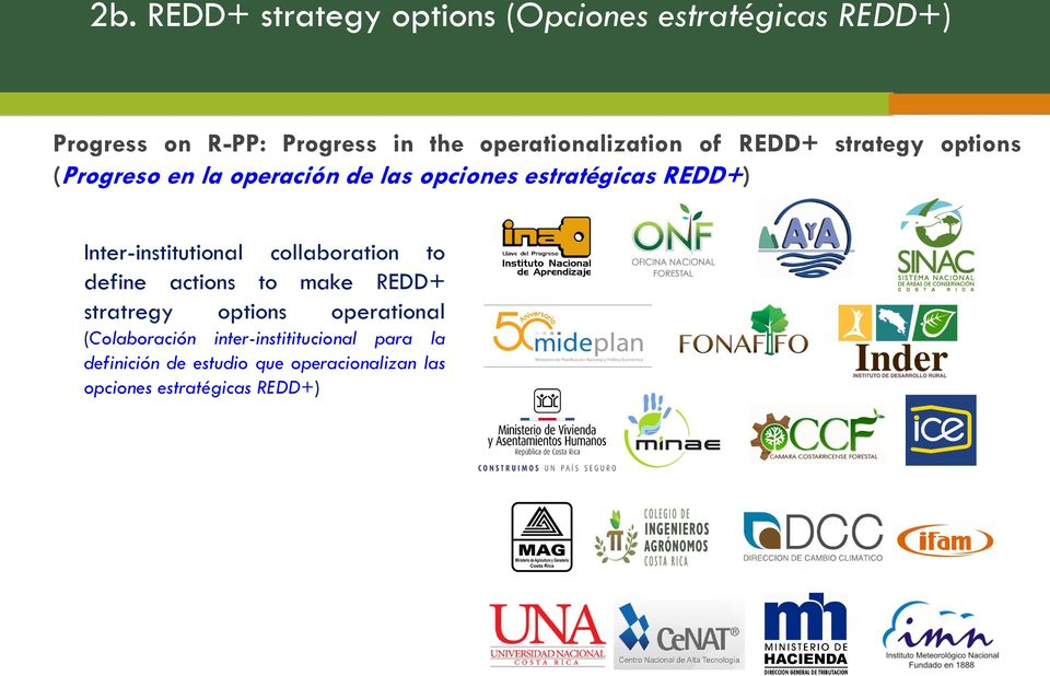 REDD+) Inter-institutional collaboration to define actions to make REDD+ stratregy options operational