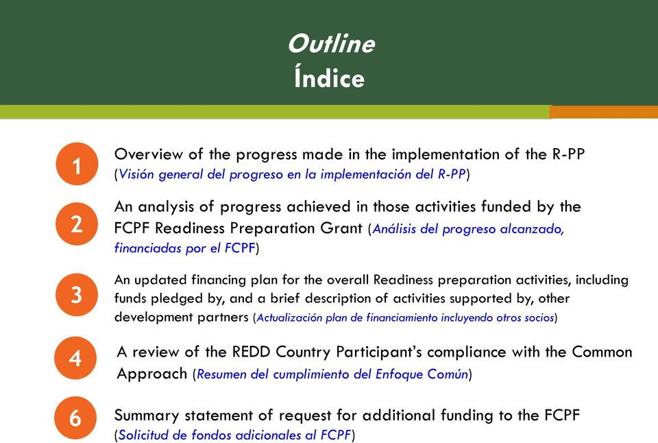 including funds pledged by, and a brief description of activities supported by, other development partners (Actualización plan de financiamiento incluyendo otros socios) A review of the REDD