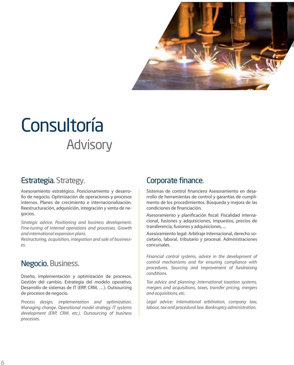 Fine-tuning of internal operations and processes. Growth and international expansion plans. Restructuring, acquisition, integration and sale of businesses. Negocio. Business.