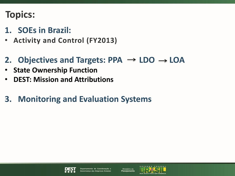 2. Objectives and Targets: PPA LDO LOA State