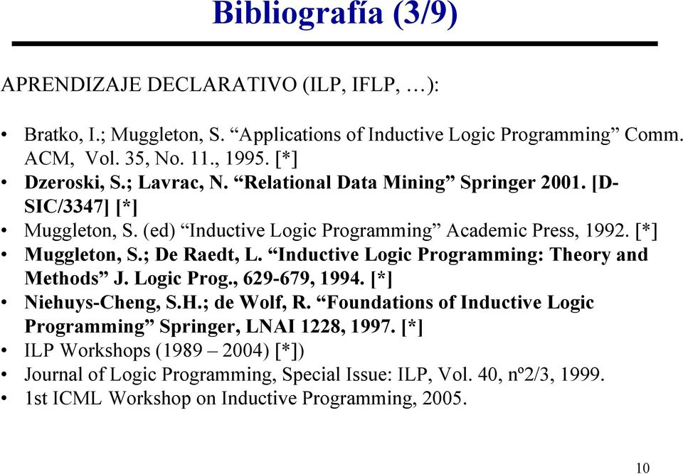 Inductive Logic Programming: Theory and Methods J. Logic Prog., 629-679, 1994. [*] Niehuys-Cheng, S.H.; de Wolf, R.