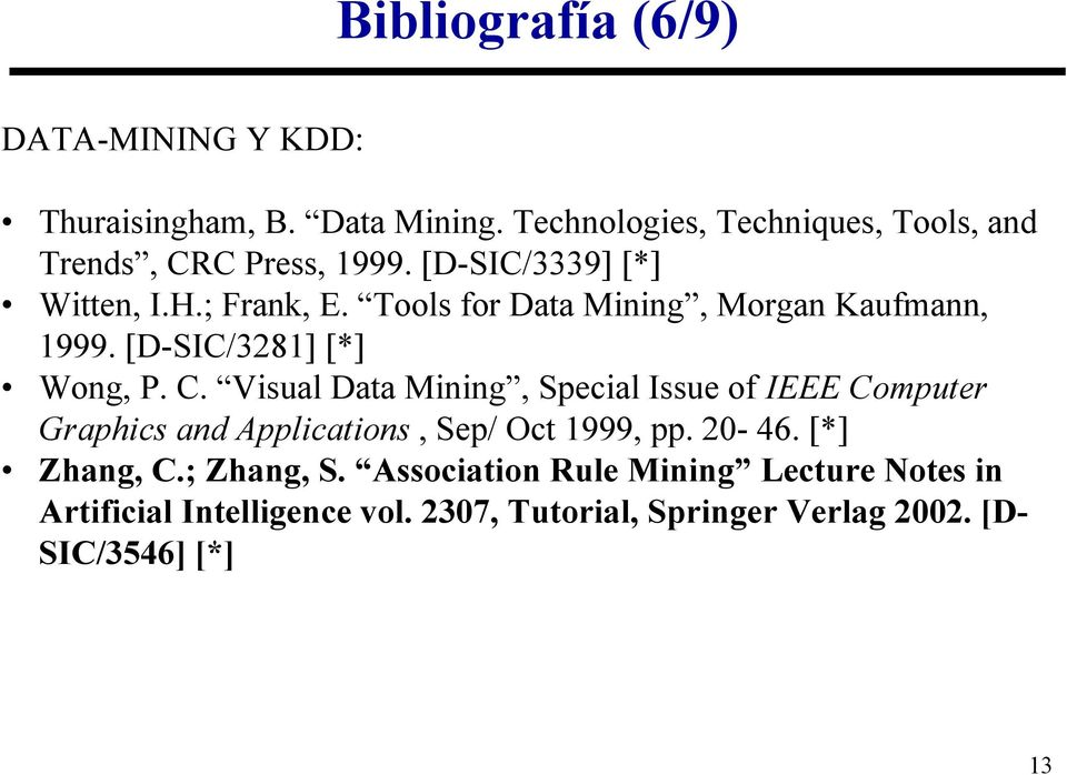 Tools for Data Mining, Morgan Kaufmann, 1999. [D-SIC/3281] [*] Wong, P. C.