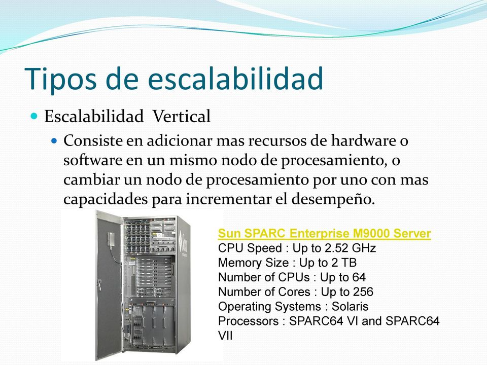 el desempeño. Sun SPARC Enterprise M9000 Server CPU Speed : Up to 2.