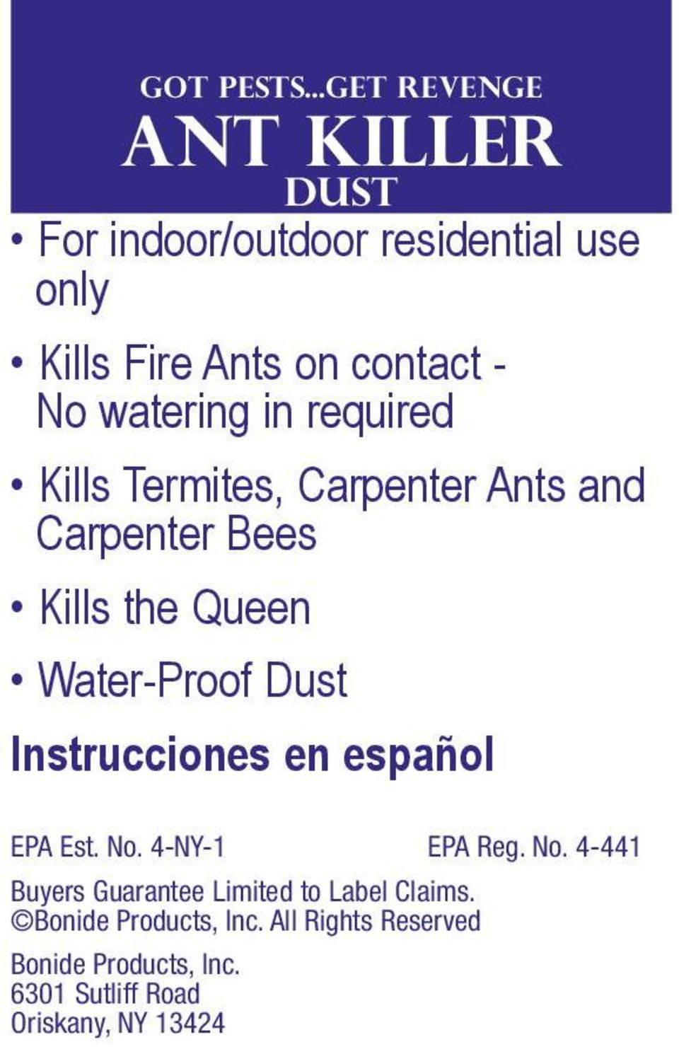 watering in required Kills Termites, Carpenter Ants and Carpenter Bees Kills the Queen Water-Proof Dust