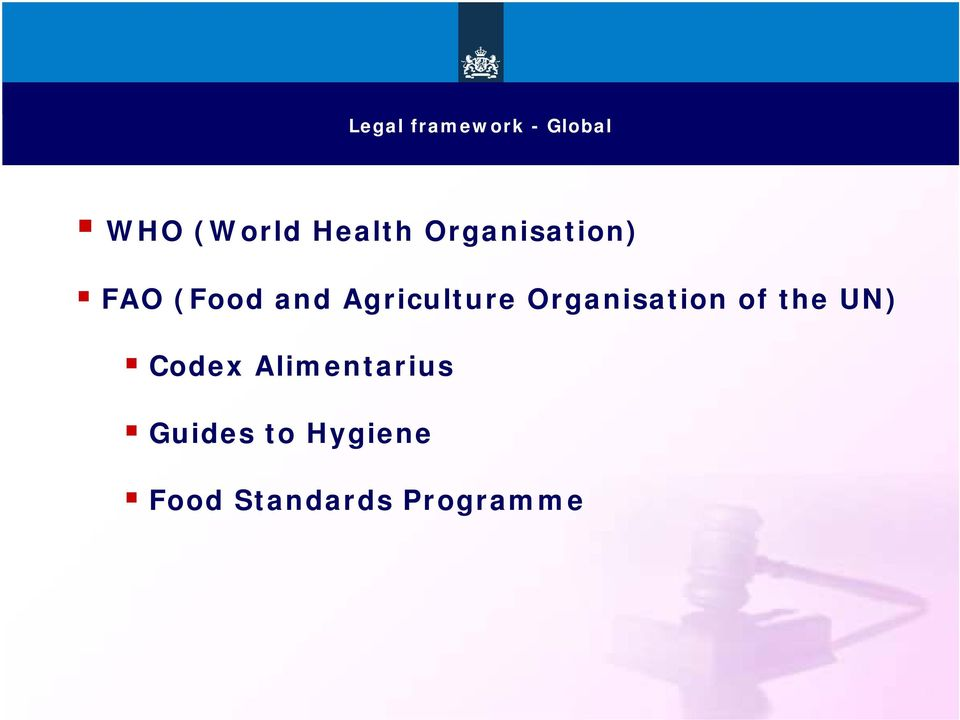 Organisation of the UN) Codex Alimentarius