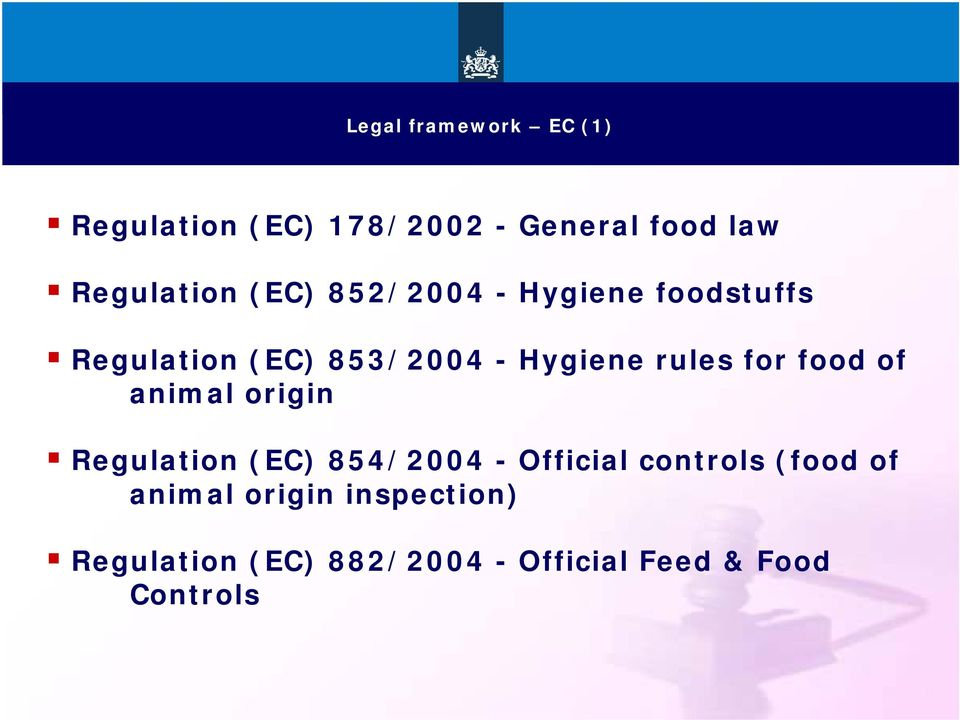 food of animal origin Regulation (EC) 854/2004 - Official controls (food of