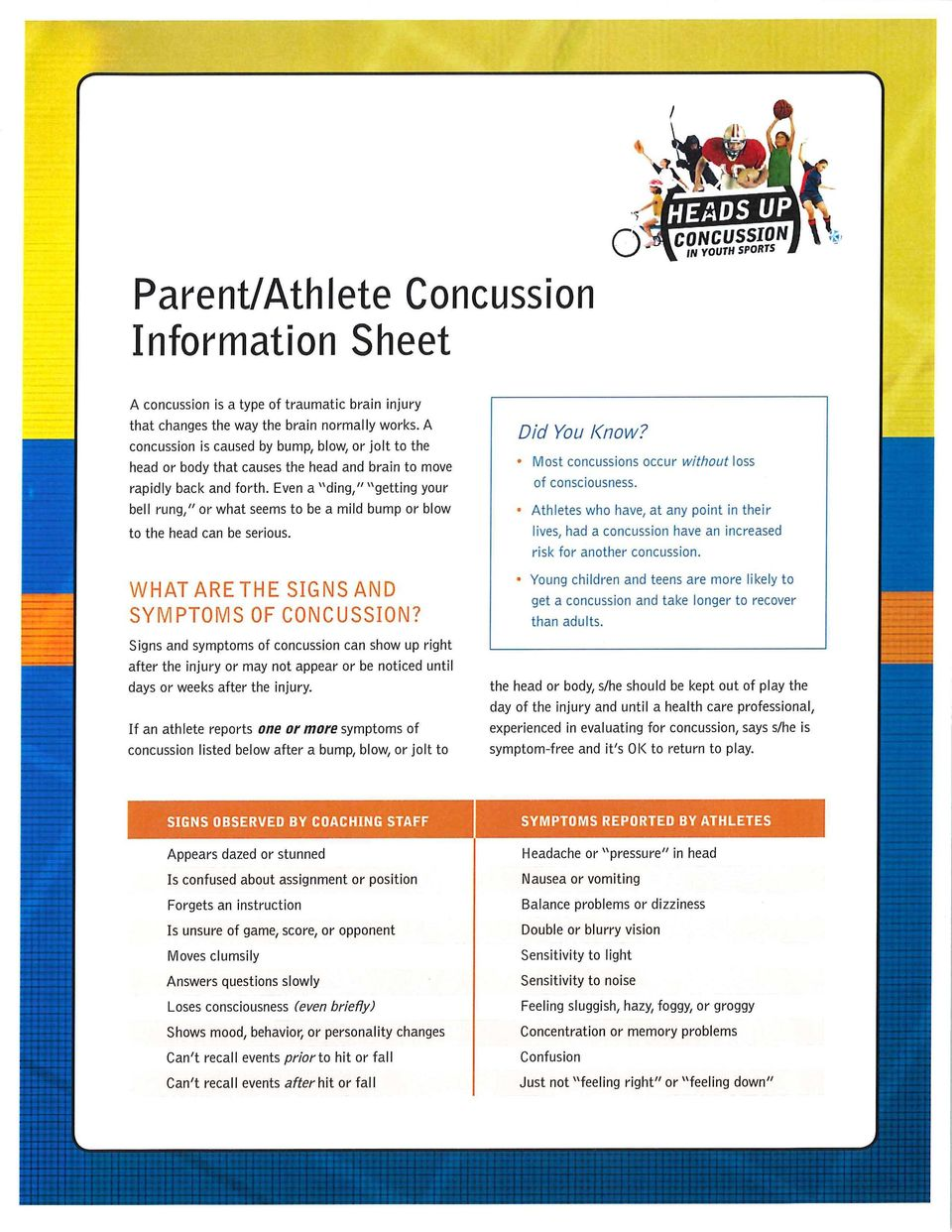 "Even a ""ding,"" ""getting your bell rung,"" or what seems to be a mild bump or blow to the head can be serious. WHAT ARE THE SIGNS AND SYMPTOWS OF CONCUSSION?"