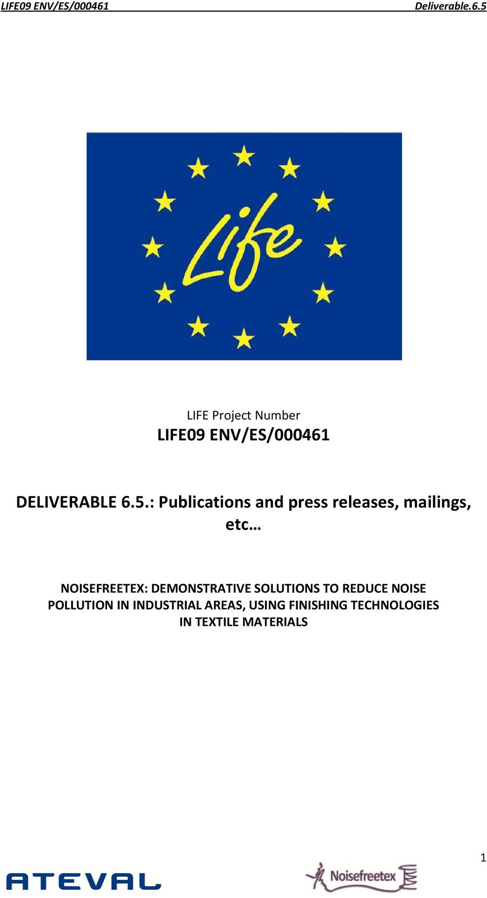 LIFE Project Number  DELIVERABLE 6.5.