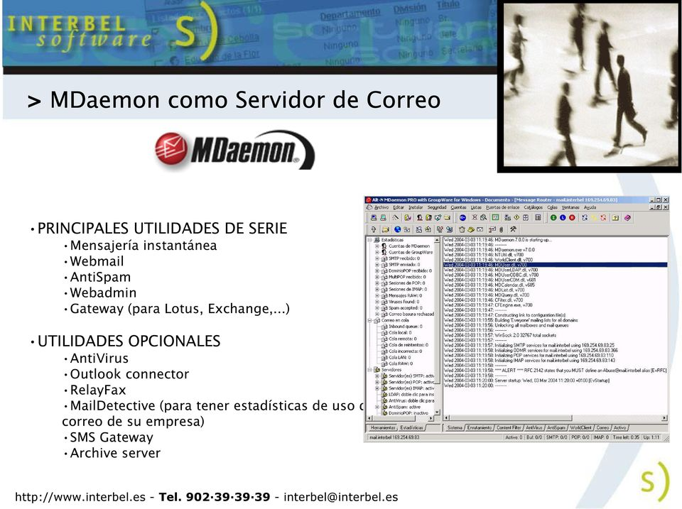 ..) UTILIDADES OPCIONALES AntiVirus Outlook connector RelayFax MailDetective