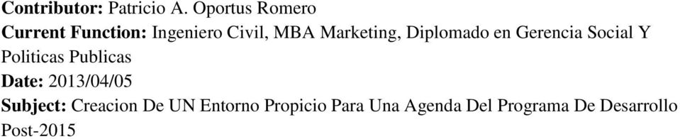 Marketing, Diplomado en Gerencia Social Y Politicas Publicas