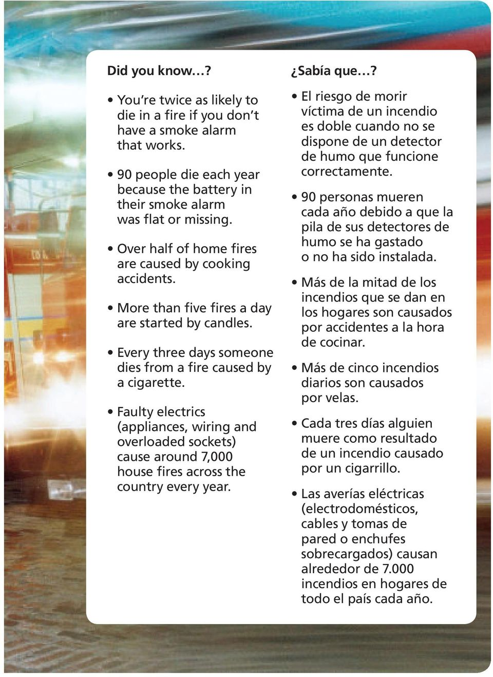 Faulty electrics (appliances, wiring and overloaded sockets) cause around 7,000 house fires across the country every year. Sabía que?