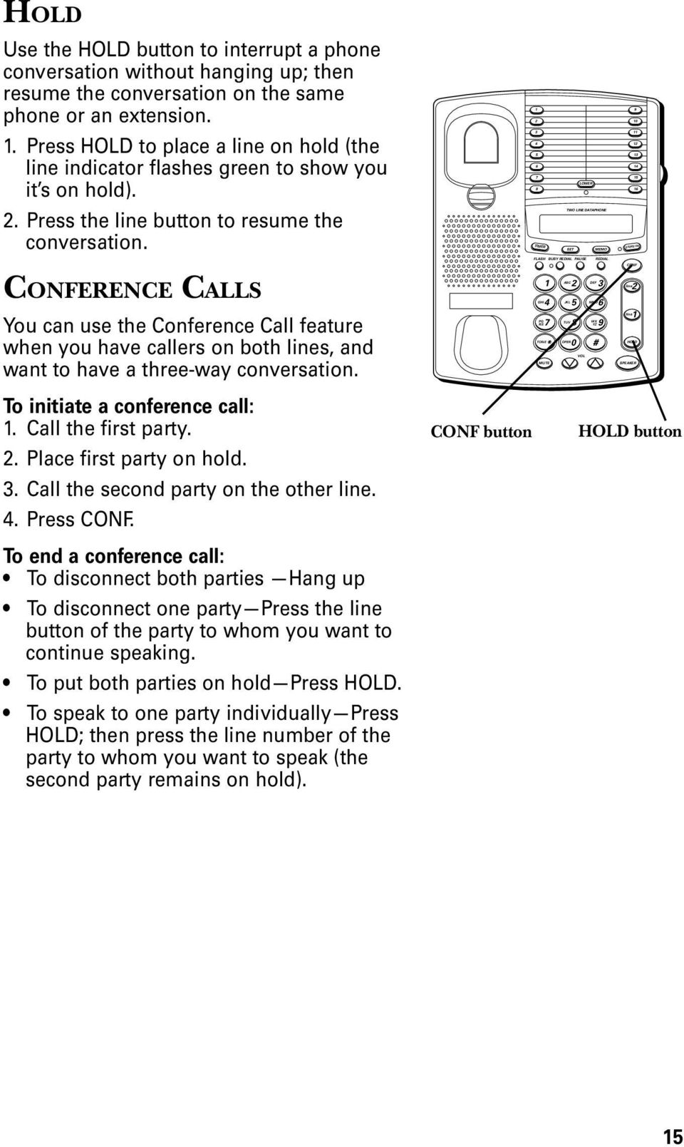 ERENCE CALLS You can use the Conference Call feature when you have callers on both lines, and want to have a three-way conversation. GHI RS ABC TUV MNO YZ 0 line line To initiate a conference call:.