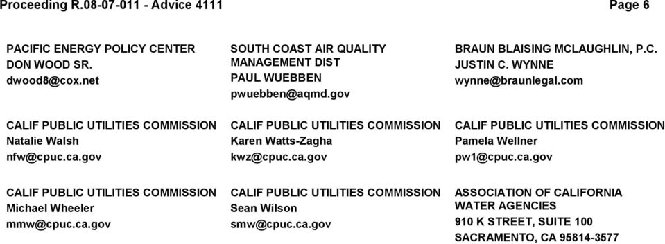 com CALIF PUBLIC UTILITIES COMMISSION Natalie Walsh nfw@cpuc.ca.gov CALIF PUBLIC UTILITIES COMMISSION Karen Watts-Zagha kwz@cpuc.ca.gov CALIF PUBLIC UTILITIES COMMISSION Pamela Wellner pw1@cpuc.