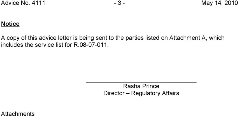 letter is being sent to the parties listed on
