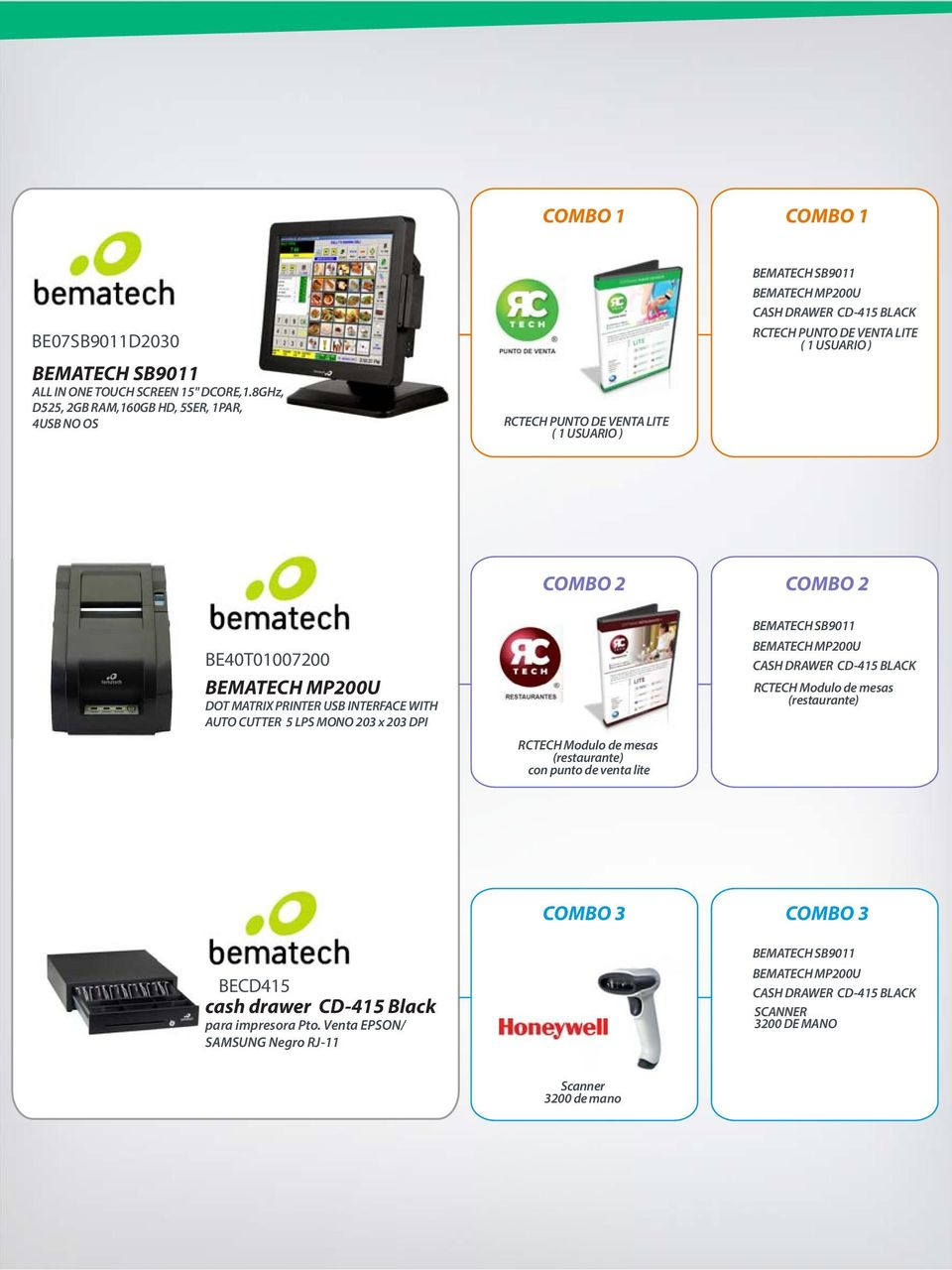 USUARIO ) BE40T01007200 BEMATECH MP200U DOT MATRIX PRINTER USB INTERFACE WITH AUTO CUTTER 5 LPS MONO 203 x 203 DPI COMBO 2 RCTECH Modulo de mesas (restaurante) con punto de venta lite