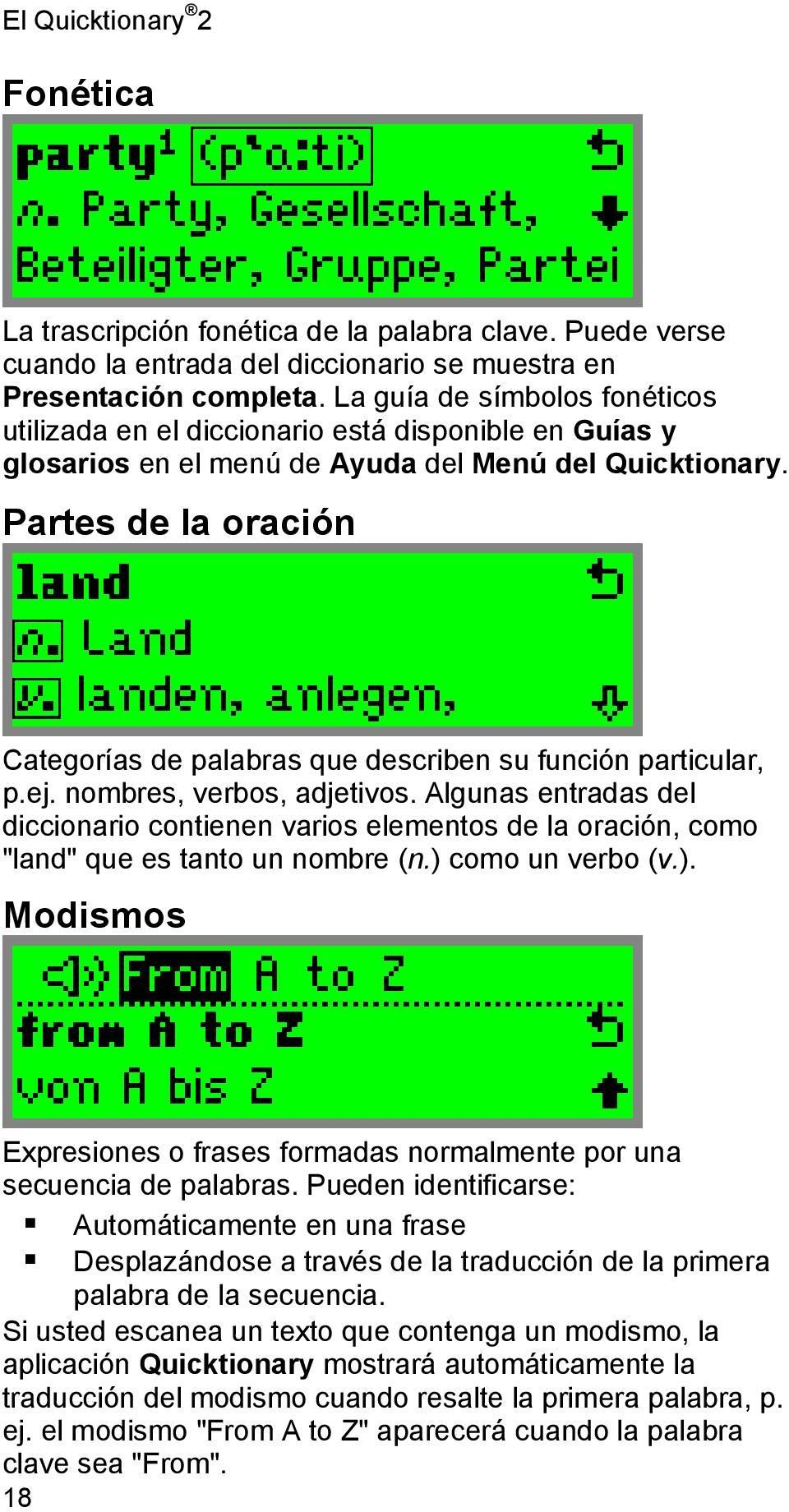 Quicktionary 2 Manual de usuario. Índice - PDF
