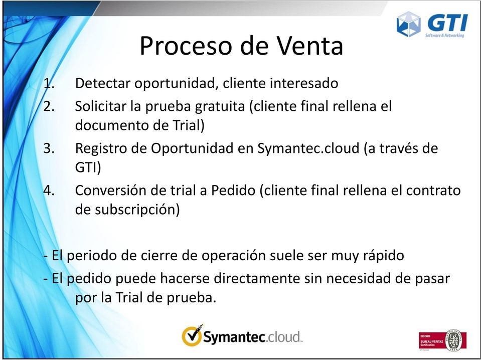 Registro de Oportunidad en Symantec.cloud (a través de GTI) 4.