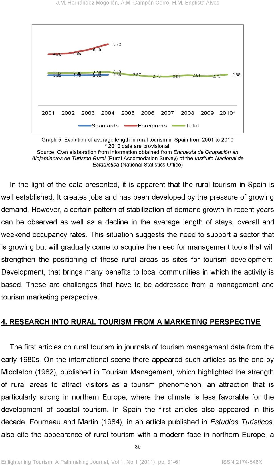 Office) In the light of the data presented, it is apparent that the rural tourism in Spain is well established. It creates jobs and has been developed by the pressure of growing demand.