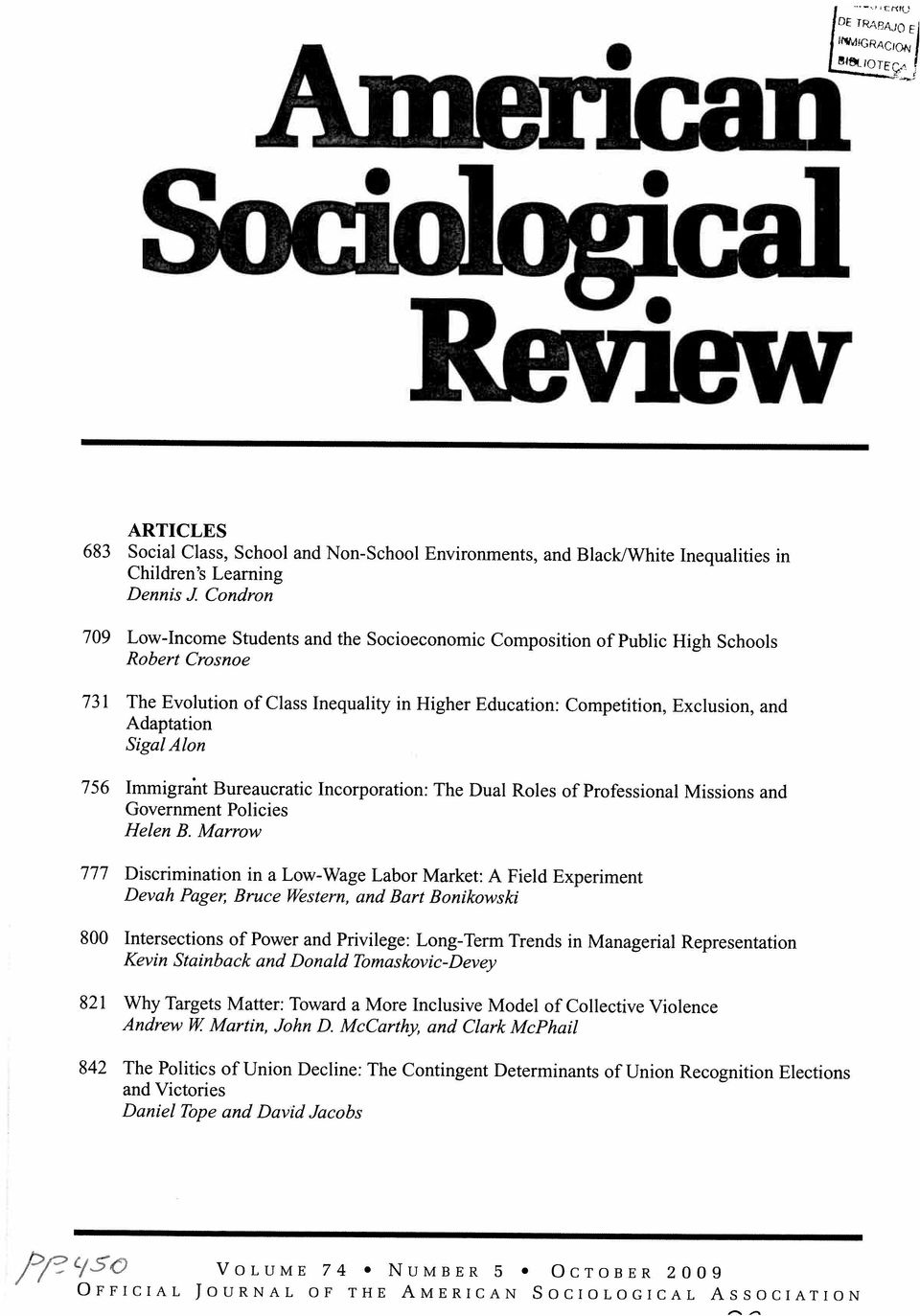 McCarthy, and Clark McPhail 821 Why Targets Matter: Toward a More Inclusive Model of Collective Violence 800 Intersections of Power and Privilege: Long-Term Trends in Managenal Representation Kevin
