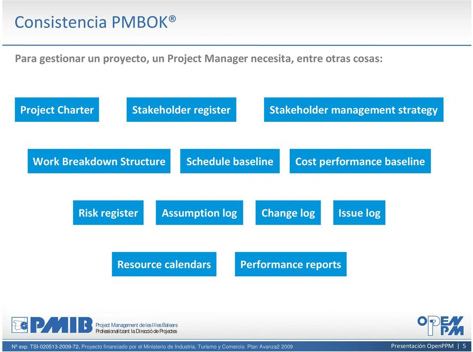 Work Breakdown Structure Schedule baseline Cost performance baseline Risk register